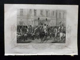 Tyrrell Crimea 1858 Print. The Queen receiving the Guards at Buckingham Palace